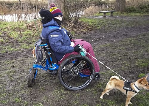 Sara Horsman in new powered wheelchair